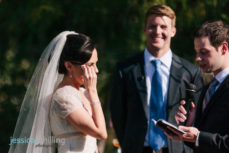sweet emotional moment of bride crying during groom's vows at modern Persian wedding ceremony