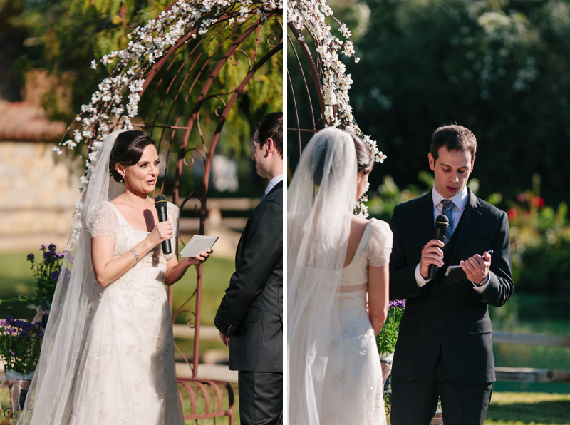 bride and groom exchange personalized vows at Temecula wedding