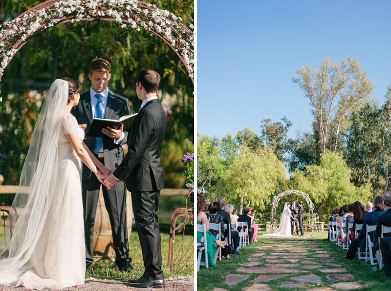 Lake Oak Meadows Temecula wine country wedding ceremony