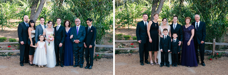 Family formal portraits at indie wedding Temecula Lake Oak Meadows