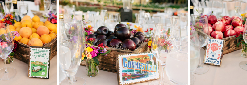 vintage stamp table numbers and fruit crate centerpieces with nectarines, plums, apricots