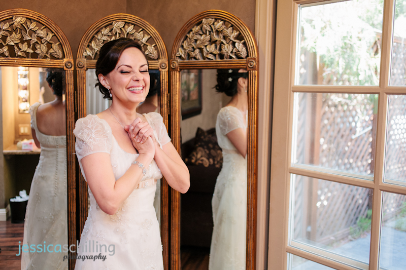 Gorgeous happy bride excited for wedding