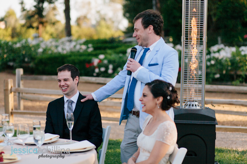 groomsman toast laughing at quirky, fun, happy indie wedding Temecula