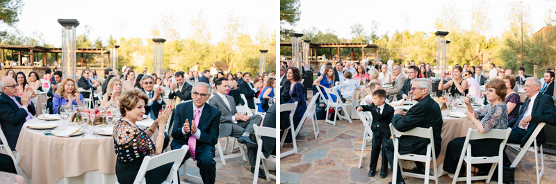 guests cheer for toasts at Lake Oak Meadows Temecula wedding reception