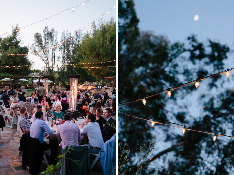 Night outdoor wedding reception with string lights indie wedding photographer Jessica Schilling