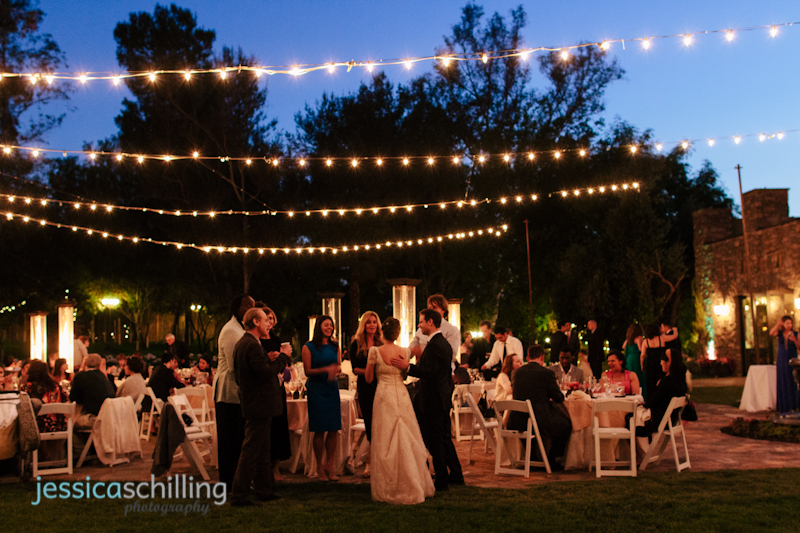 Indie wedding photographer night time outdoor wedding reception Lake Oak Meadows