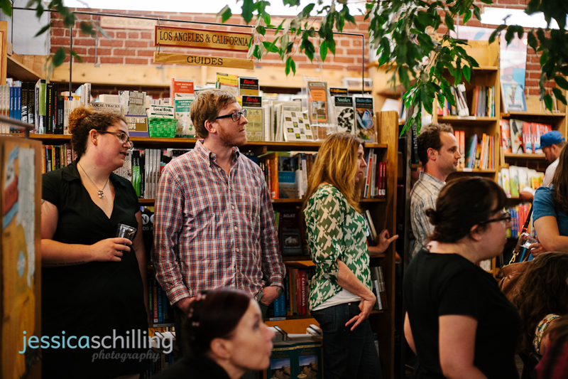 crowd listening to author reading at Skylight Books Los Feliz indie hipster book store
