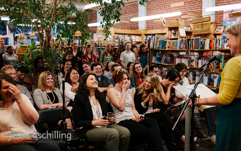 crowd laughing during fun, quirky author reading at indie bookstore Skylight Books