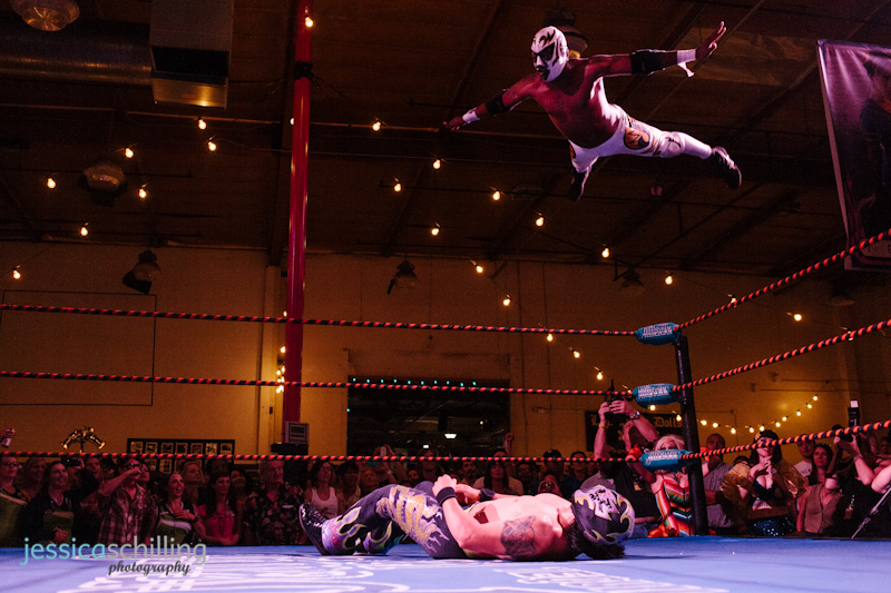 Flying Lucha Libre wrestler captured by Los Angeles photographer Jessica Schilling