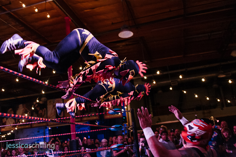 Flying chicken Lucha Libre Mexican wrestlers at Los Angeles special events