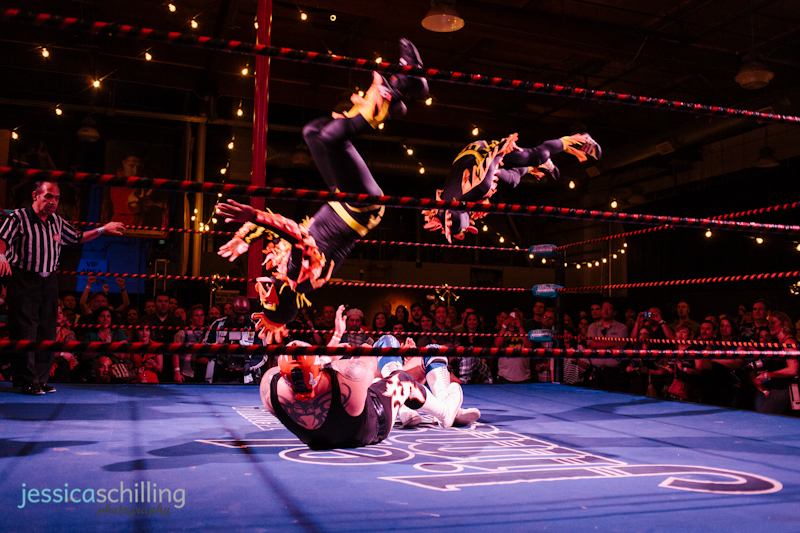 action sports photography of Lucha VaVoom Mexican wrestlers at indie charity fundraiser event TwentyWonder