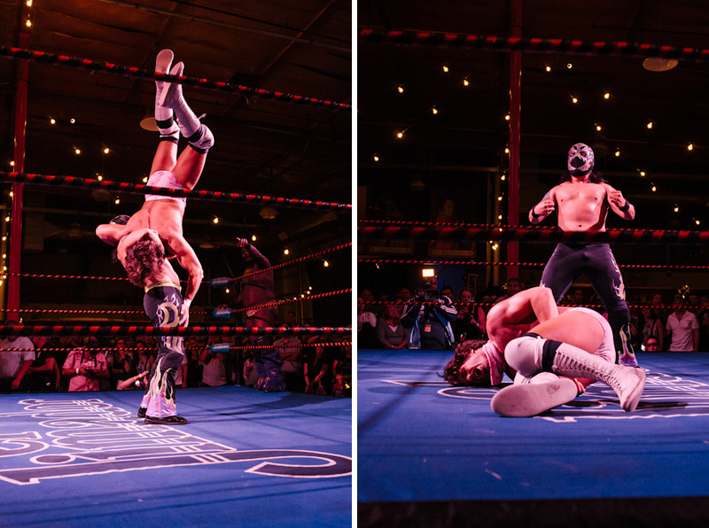Amazing Lucha VaVoom wrestlers in downtown LA at indie, hipster, charity fundraiser for DSALA
