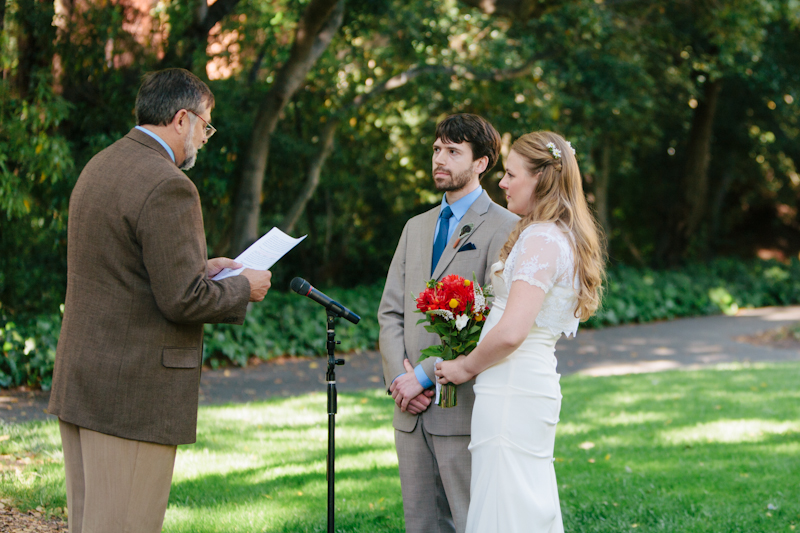 Intimate personalized ceremony outdoors at Berkeley Faculty Club
