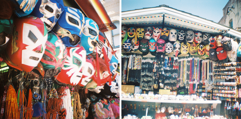 Los Angeles lomography colorful Mexican Wrestling Masks Olvera Street