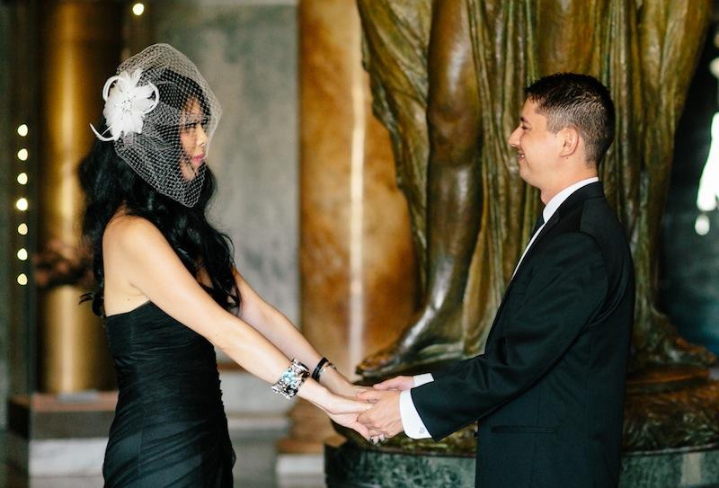 Los Angeles indie wedding photographer, goth offbeat wedding dress