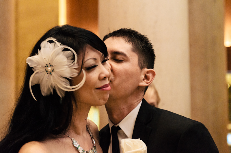bride and groom kiss Los Angeles documentary wedding coverage