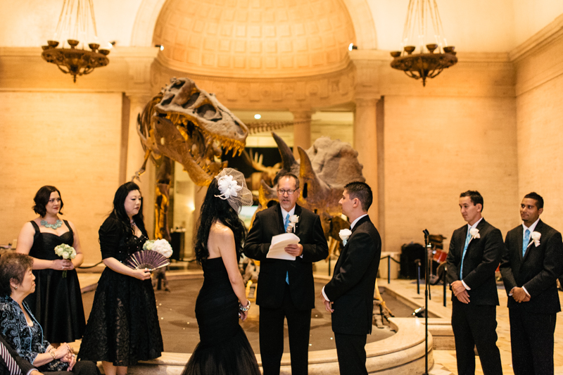 unique offbeat wedding ceremony with dinosaur theme Los Angeles