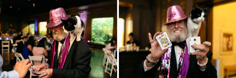 indie, offbeat wedding reception ideas - magician with cat doing card tricks