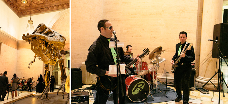 Live rock band for offbeat, indie wedding reception at Natural History Museum