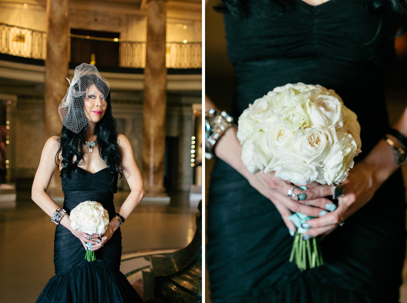 Offbeat Bride with black dress, turquoise jewelry, white rose bouquet