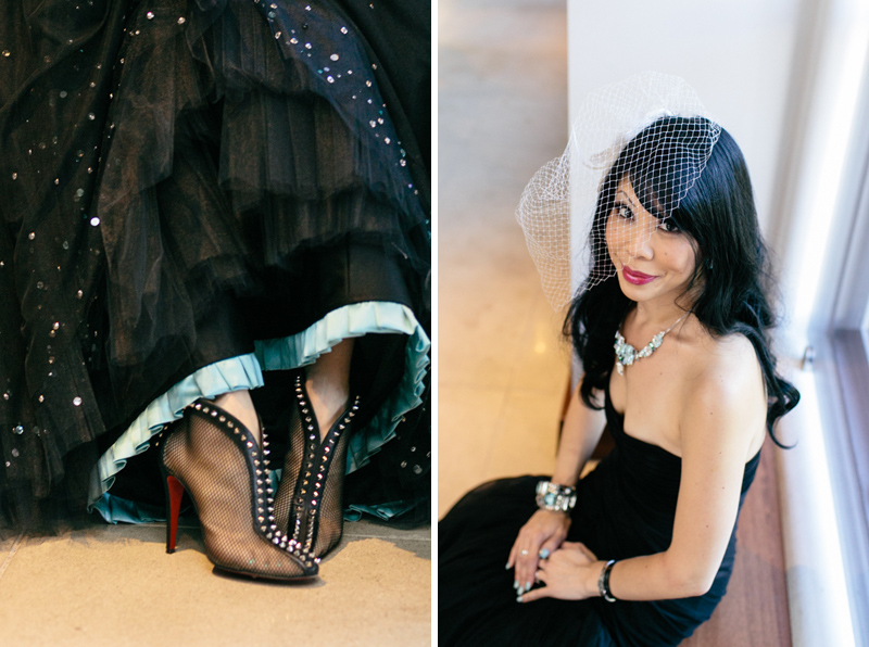 Offbeat bride with goth black wedding dress and spiky punk rock heels