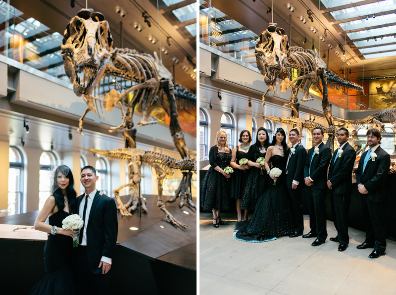 Unique, fun, cool bridal party portraits with dinosaurs