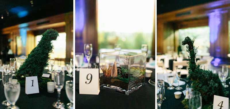 Dinosaur theme reception centerpieces at Los Angeles offbeat wedding