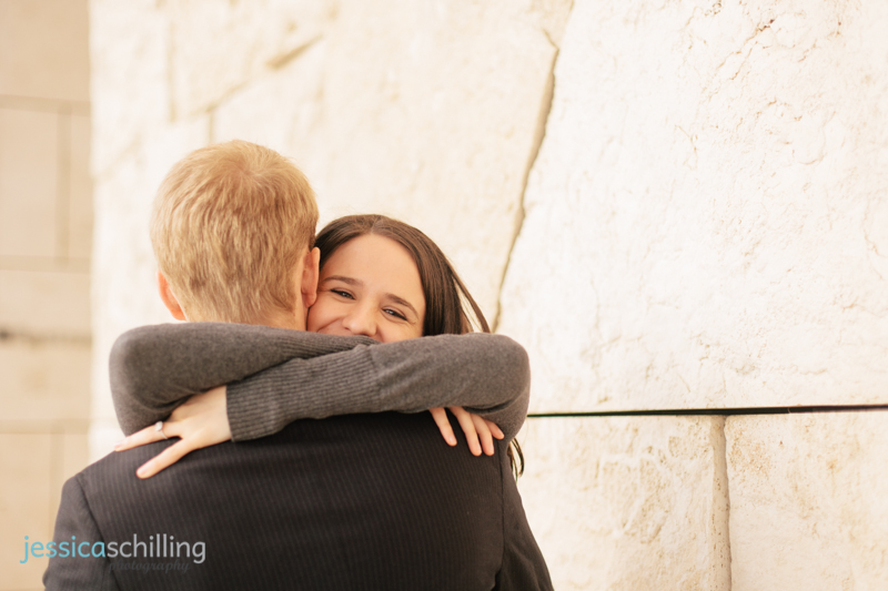 sweet emotional genuine engagement photography hugging LA