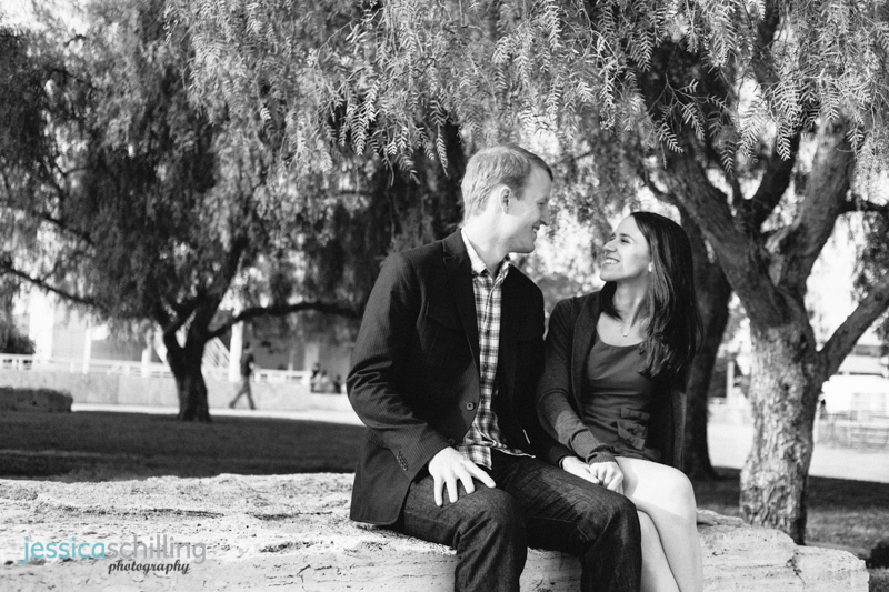modern artistic black and white Los Angeles engagement photography