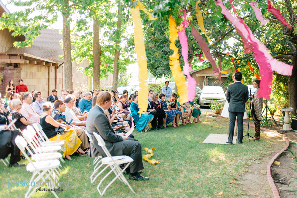 colorful paper streamers for outdoor wedding ceremony Los Angeles