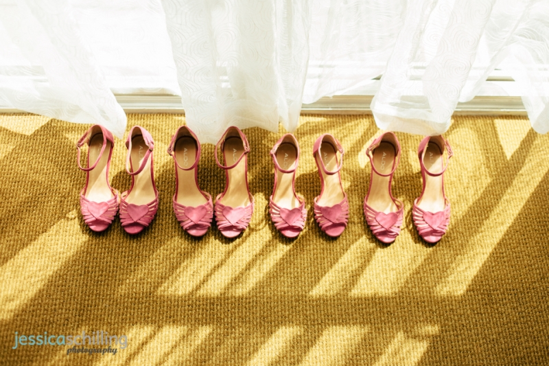 pink heart bridesmaid shoes at retro indie Los Angeles wedding