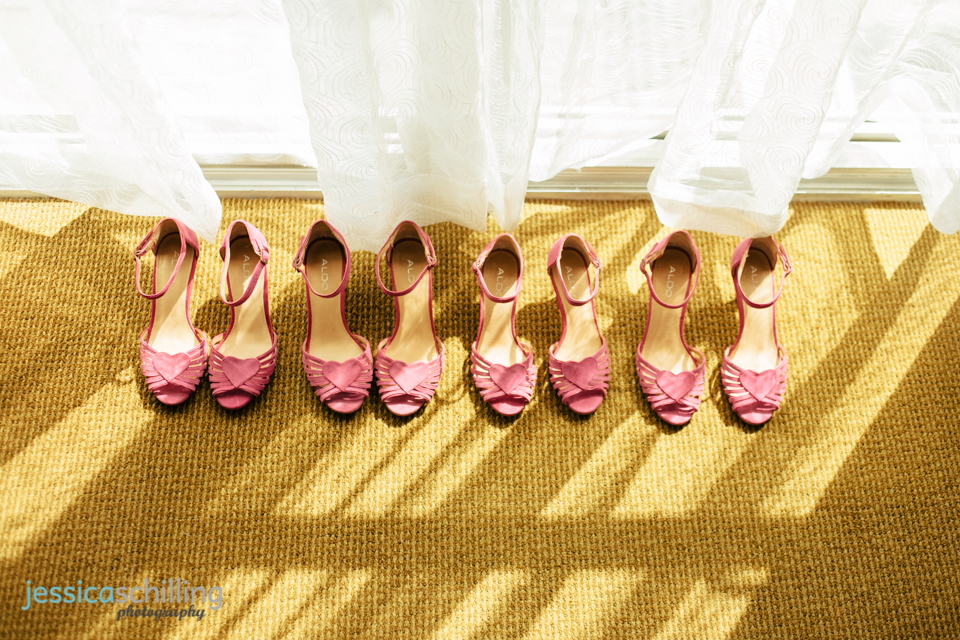 pink heart bridesmaid shoes at retro indie Los Angeles wedding