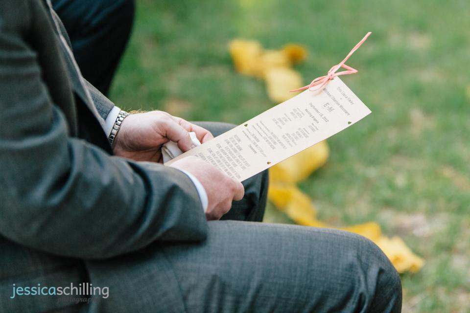 DIY wedding ceremony program at indie LA Eagle Rock wedding