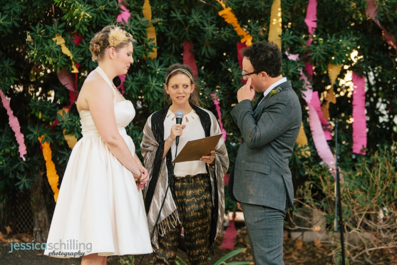 Sweet emotional moment at Los Angeles indie wedding ceremony