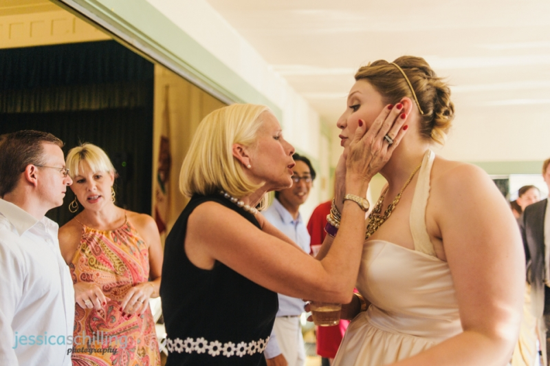 guests squeeze bride