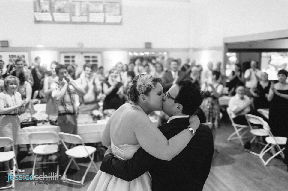 bride and groom kiss at Women's Club of Eagle Rock wedding Los Angeles