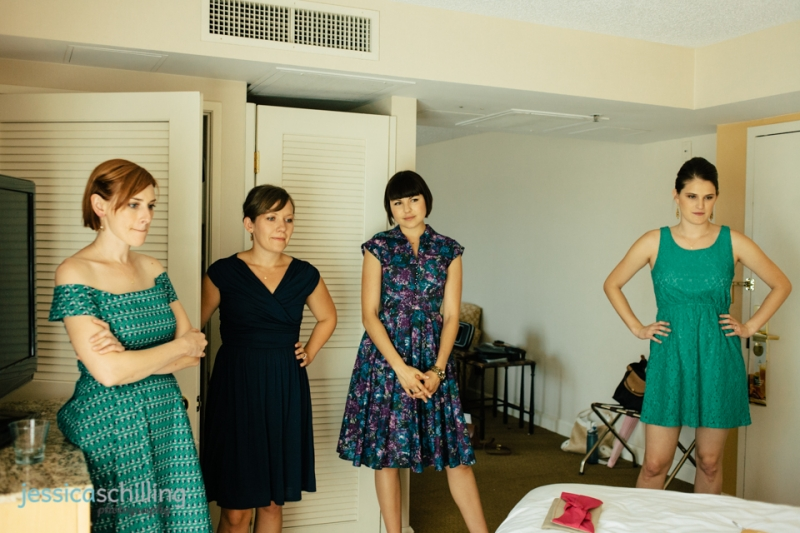 bridesmaids watch bride get ready for Eagle Rock indie wedding