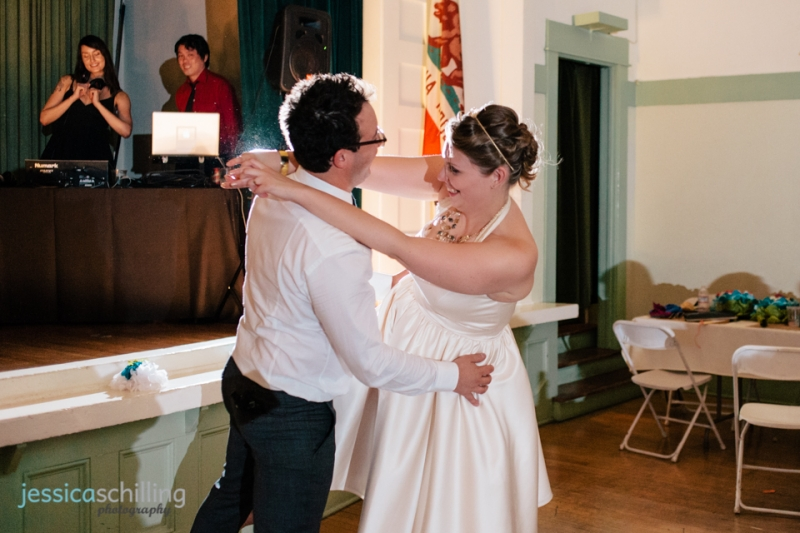 Funny, sweet couple dancing first dance at LA indie wedding