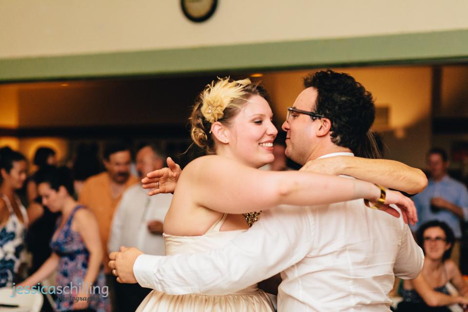 bride and groom hug family members at indie Los Angeles wedding