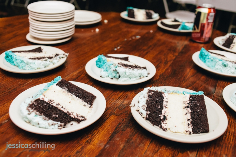 Aqua blue ombre wedding cake at indie hipster wedding