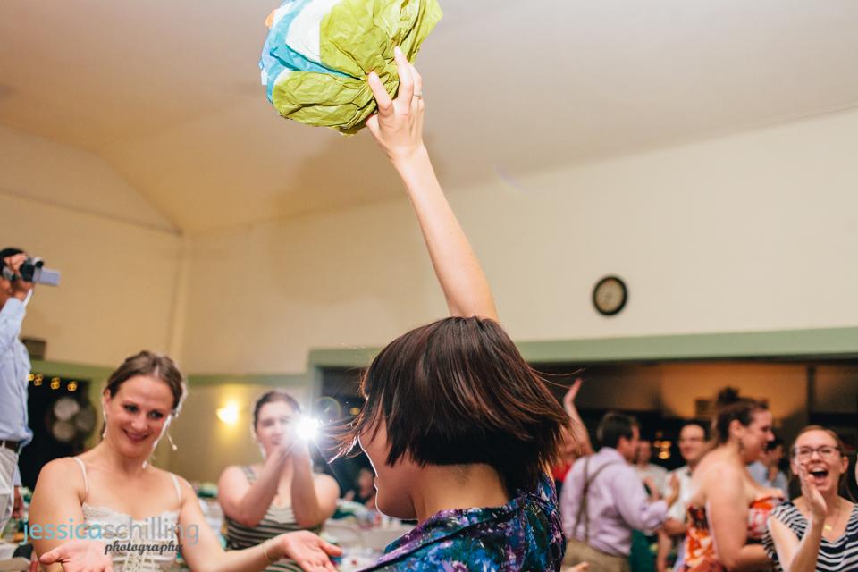 unique artsty indie wedding photography bouquet toss Eagle Rock