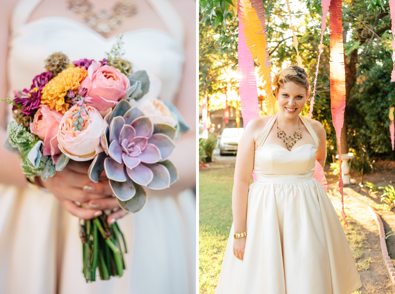succulent bouquet with pastel flowers at indie LA Eagle Rock wedding