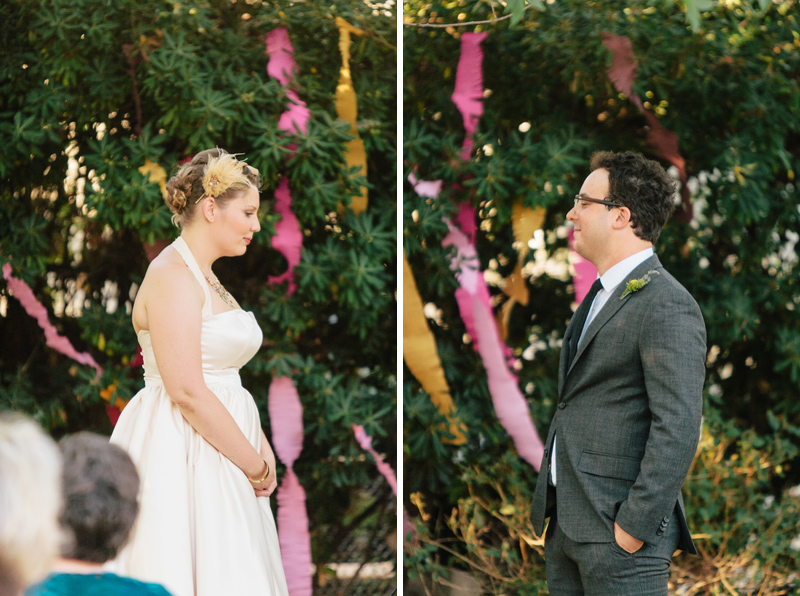 Unique quirky indie hipster Los Angeles outdoor wedding ceremony