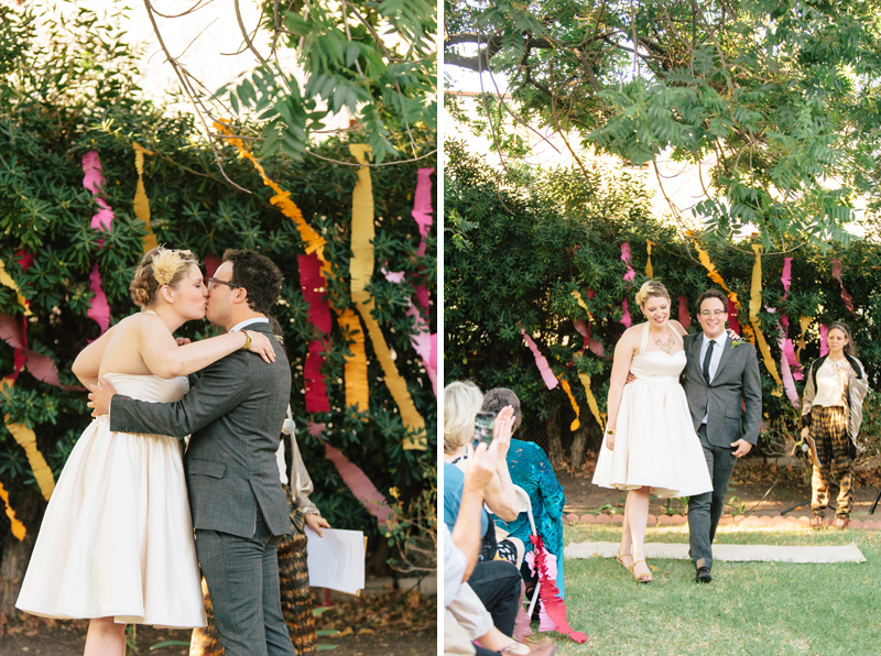 Quirky, hipster bride and groom outdoor wedding ceremony Los Angeles Eagle Rock Women
