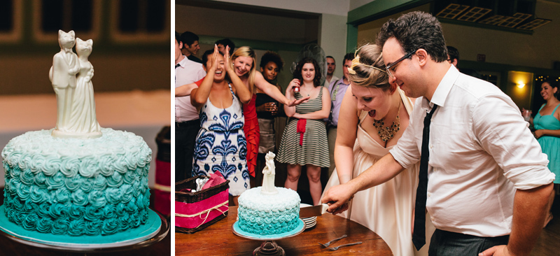 ombre wedding cake in aqua colors with cat cake topper