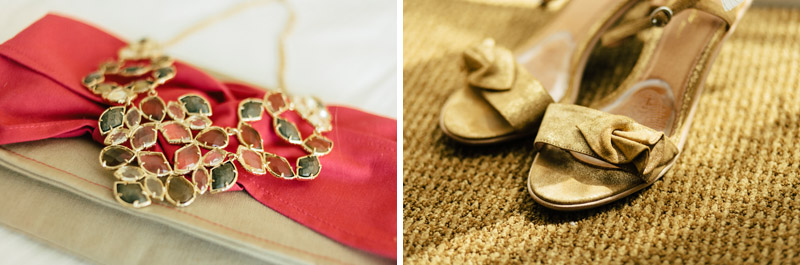 Gold statement necklace and gold Anthropologie sandals for indie bridal fashion