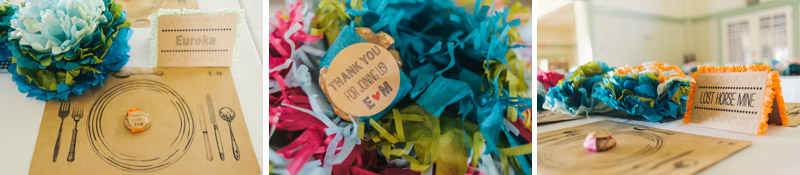 Colorful DIY paper flower decorations for indie wedding reception decor
