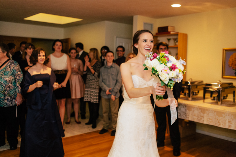 LA wedding photographer. Relaxed, intimate, at home wedding. Bouquet toss.