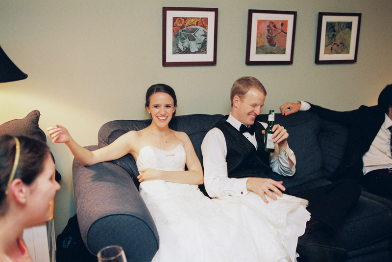 bride and groom relaxed at home wedding Los Angeles