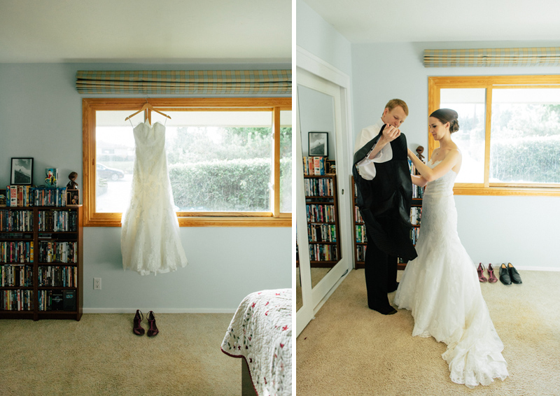 Los Angeles intimate wedding photography couple getting ready together